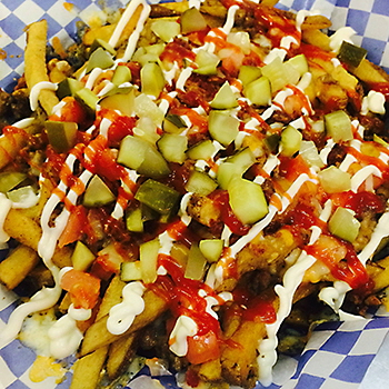 Bacon cheeseburger loaded fries at Appy Place Lounge in Stonewall, MB