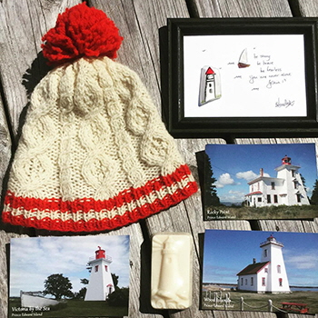Lighthouse inspired craft and made with love by hand from Colorful Island Craft Studio, Montague, PEI
