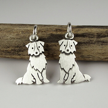 Australian sheepdog earrings by Stick Man Creations, Montreal, Québec